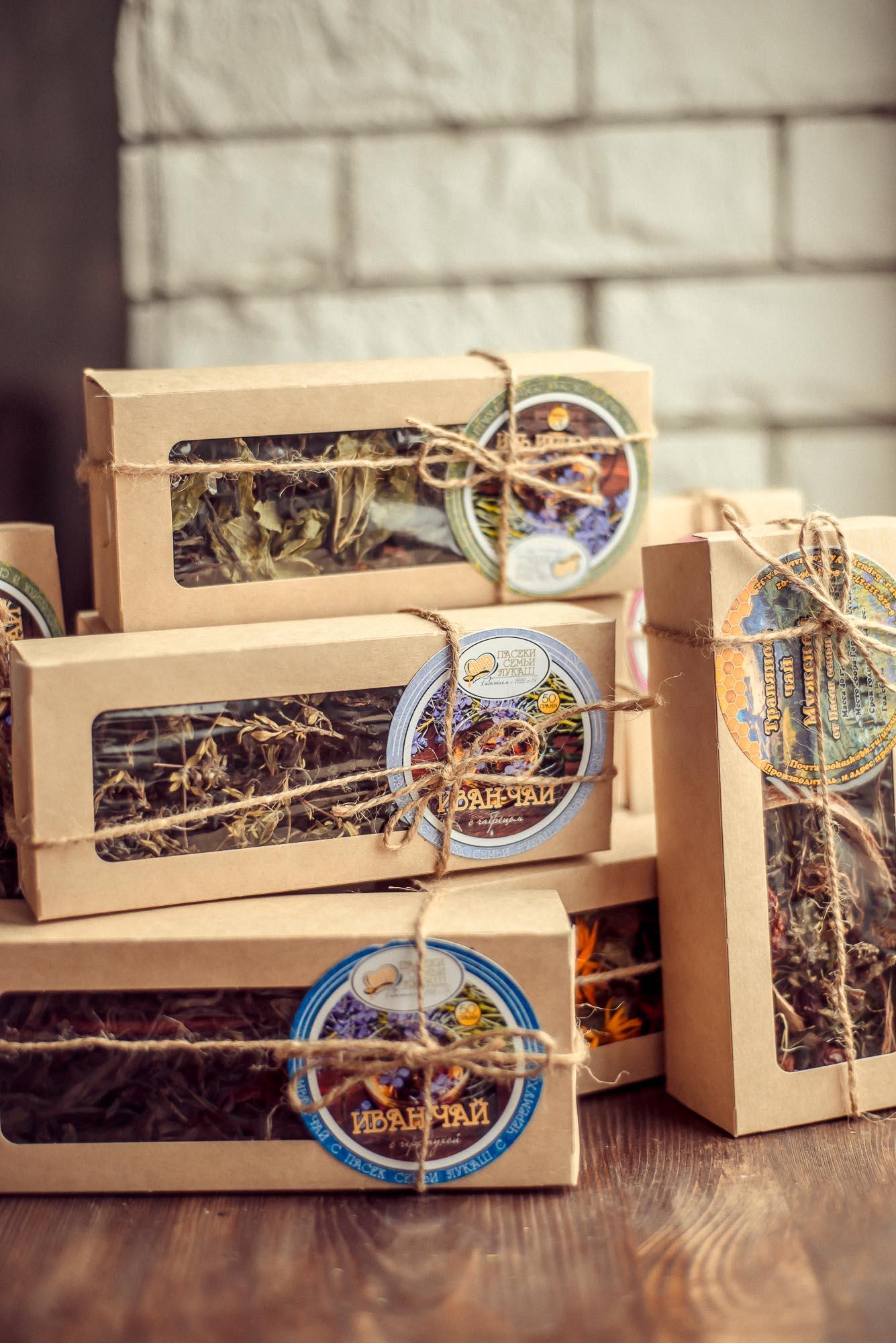 чаи на травах в крафт коробочках
